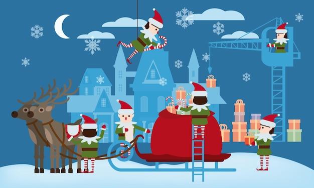 Prettige kerstdagen en gelukkig nieuwjaar elfenhelpers verzamelen geschenken in de tas