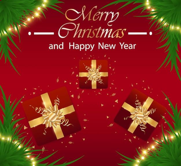 Prettige kerstdagen en gelukkig nieuwjaar feestelijke realistische rode achtergrond. nieuwjaar illustratie met geschenkdoos en gouden klatergoud.