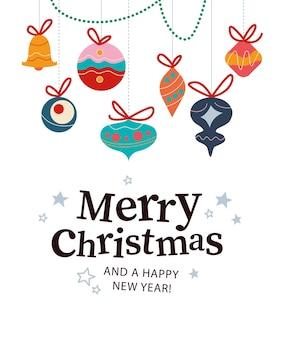Prettige kerstdagen en gelukkig nieuwjaar felicitatie ontwerp met sterren, dennenboom decoratie ballen en speelgoed hangen geïsoleerd. vectorillustratie platte cartoon. voor kaart, pakket, spandoek, posteruitnodiging.