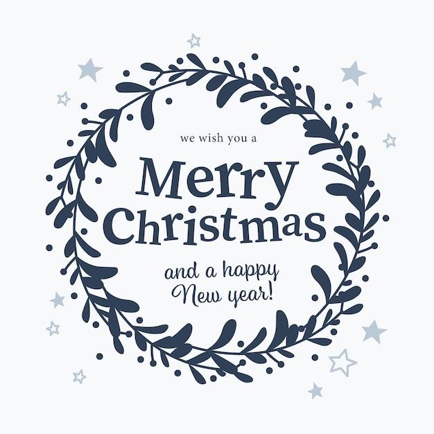 Prettige kerstdagen en gelukkig nieuwjaar felicitatie tekst en maretak krans geïsoleerd. platte vectorillustratie. voor kaarten, banners, prints, verpakkingen, uitnodigingen.