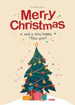 Prettige kerstdagen en gelukkig nieuwjaar felicitatiekaart met tekst felicitatie en stapel geschenken en snoep bij versierde dennenboom. platte vectorillustratie voor banner, uitnodiging, pakket, flayer, web