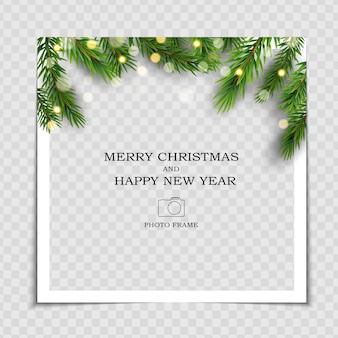 Prettige kerstdagen en gelukkig nieuwjaar fotolijstsjabloon.