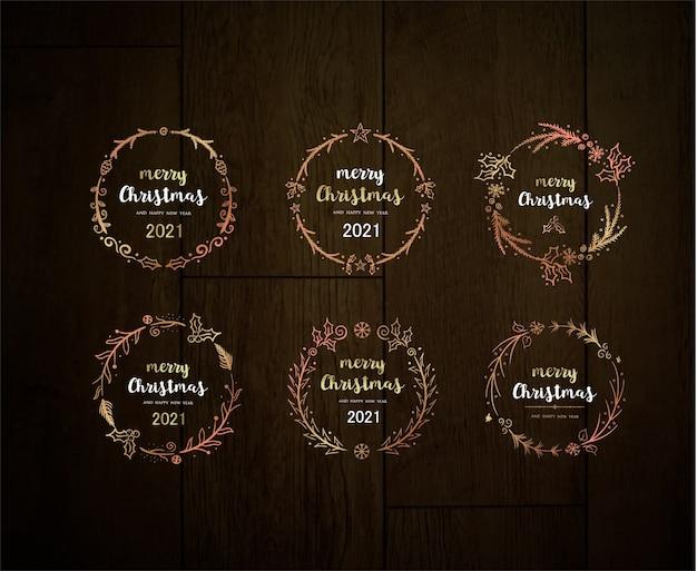 Prettige kerstdagen en gelukkig nieuwjaar glanzende feestelijke kerstkrans elegant gouden frame