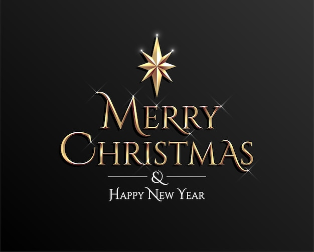 Prettige kerstdagen en gelukkig nieuwjaar gouden belettering teken op donkere achtergrond.
