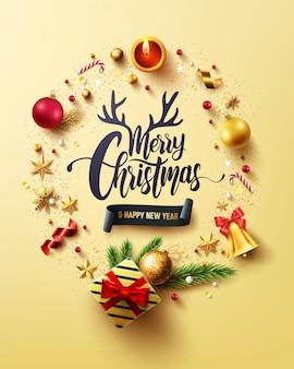 Prettige kerstdagen en gelukkig nieuwjaar gouden kaart