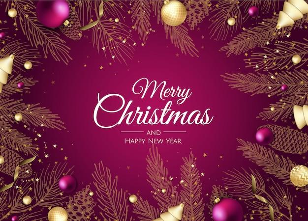 Prettige kerstdagen en gelukkig nieuwjaar gouden takken wenskaart