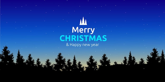 Prettige kerstdagen en gelukkig nieuwjaar groet met dennenbos silhouet Premium Vector