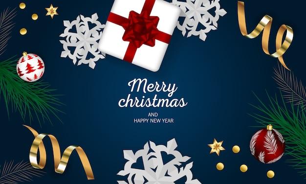 Prettige kerstdagen en gelukkig nieuwjaar groet met feestelijke kerstballen.