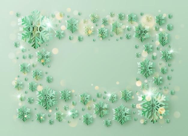 Prettige kerstdagen en gelukkig nieuwjaar groet sjabloon frame met folie sneeuwvlokken Premium Vector