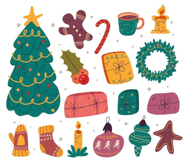 Prettige kerstdagen en gelukkig nieuwjaar hand getrokken doodle geïsoleerde set
