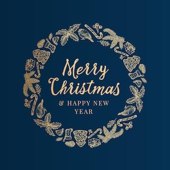 Prettige kerstdagen en gelukkig nieuwjaar hand getrokken schets
