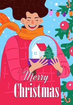 Prettige kerstdagen en gelukkig nieuwjaar handgetekende poster met inscriptie lachende vrouw met sneeuw