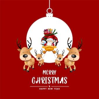 Prettige kerstdagen en gelukkig nieuwjaar in kerstbal op rode achtergrond.