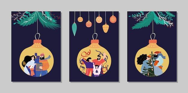Prettige kerstdagen en gelukkig nieuwjaar kaarten collectie set