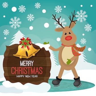 Prettige kerstdagen en gelukkig nieuwjaar kaartontwerp