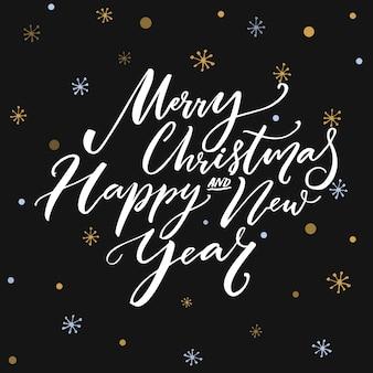 Prettige kerstdagen en gelukkig nieuwjaar kalligrafie tekst op donkere vector achtergrond met sneeuwvlokken. wenskaartontwerp met typografie.