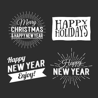 Prettige kerstdagen en gelukkig nieuwjaar kalligrafische ontwerplabel op grunge achtergrond. vakantie belettering voor uitnodiging, wenskaarten, prenten en posters. typografisch ontwerp. vector illustratie.