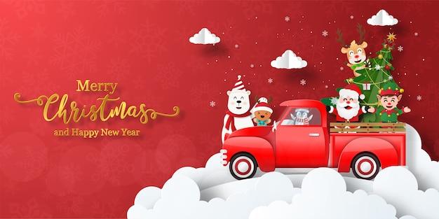 Prettige kerstdagen en gelukkig nieuwjaar, kerst banner van de kerstman en vrienden met rode auto
