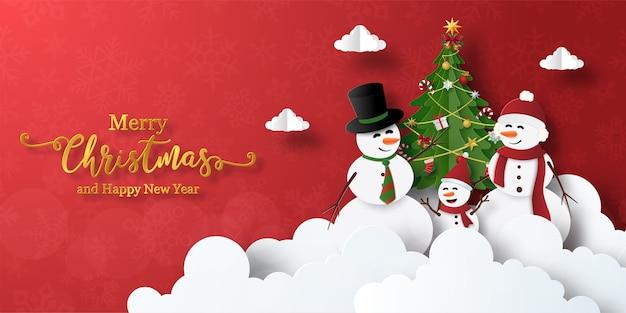 Prettige kerstdagen en gelukkig nieuwjaar, kerst banner van sneeuwpop met kerstboom