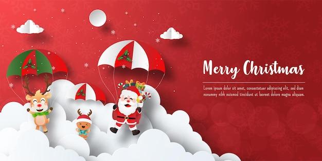 Prettige kerstdagen en gelukkig nieuwjaar, kerstbanner ansichtkaart van de kerstman en vrienden maken een parachutesprong