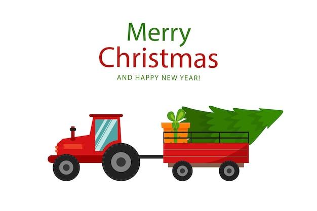 Prettige kerstdagen en gelukkig nieuwjaar kerstboomcadeau en rode tractor vectorafbeeldingen in platte sty