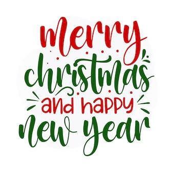 Prettige kerstdagen en gelukkig nieuwjaar kerstcitaat premium vector