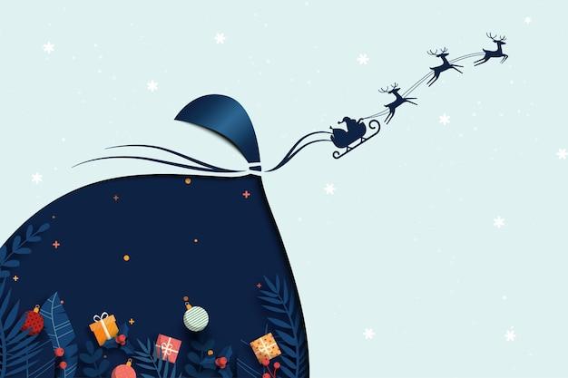 Prettige kerstdagen en gelukkig nieuwjaar. kerstman in slee en herten vliegen met een grote tas.