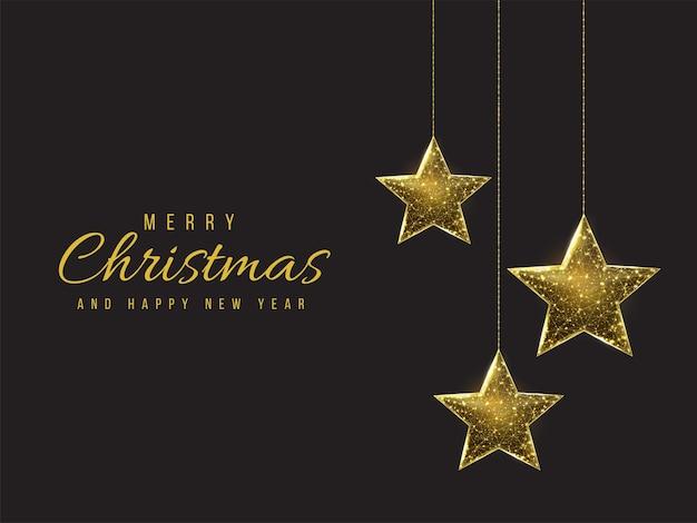 Prettige kerstdagen en gelukkig nieuwjaar laag poly wenskaart. veelhoekige draadframe mesh illustratie met hangende kerststerren. abstracte vectorillustratie op donkere achtergrond.