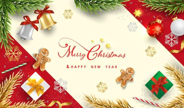 Prettige kerstdagen en gelukkig nieuwjaar met realistische feestelijke objecten