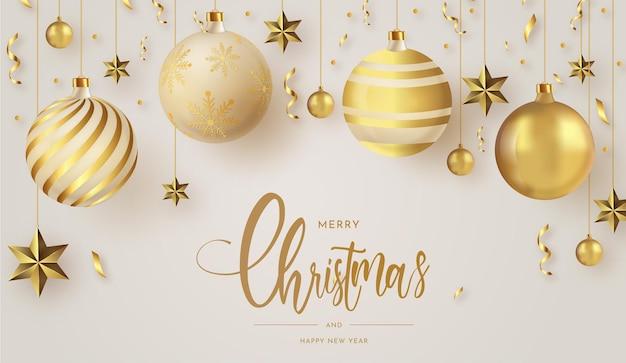 Prettige kerstdagen en gelukkig nieuwjaar met realistische gouden kerstballen