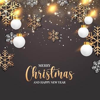 Prettige kerstdagen en gelukkig nieuwjaar met realistische gouden social media post webbanner