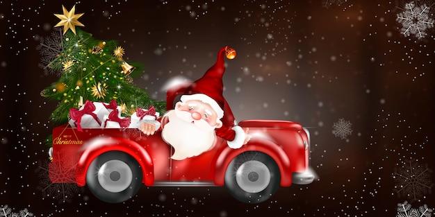 Prettige kerstdagen en gelukkig nieuwjaar met rode vrachtwagen en kerstboom. besneeuwde bos op houten achtergrond.