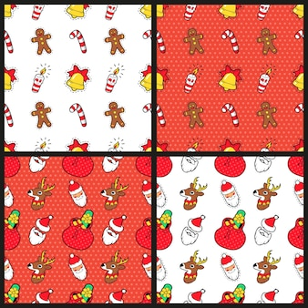 Prettige kerstdagen en gelukkig nieuwjaar naadloze patroon ingesteld met kerst cookie snoepjes en santa. wintervakantie inpakpapier. achtergrond