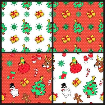Prettige kerstdagen en gelukkig nieuwjaar naadloze patroon ingesteld met kerstboom geschenken en rendieren. wintervakantie inpakpapier. achtergrond