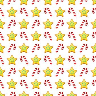 Prettige kerstdagen en gelukkig nieuwjaar naadloze patroon met kerstkoekjes en snoepjes. wintervakantie inpakpapier. achtergrond