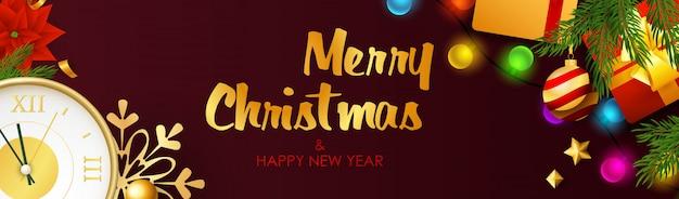 Prettige kerstdagen en gelukkig nieuwjaar ontwerp met gloeilampen