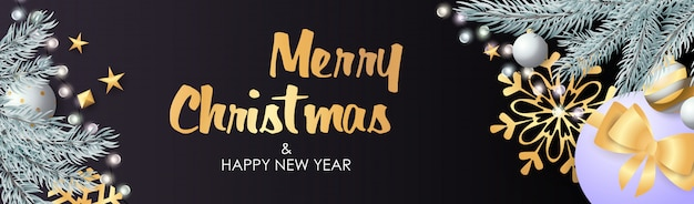 Prettige kerstdagen en gelukkig nieuwjaar ontwerp met sprankelende bollen