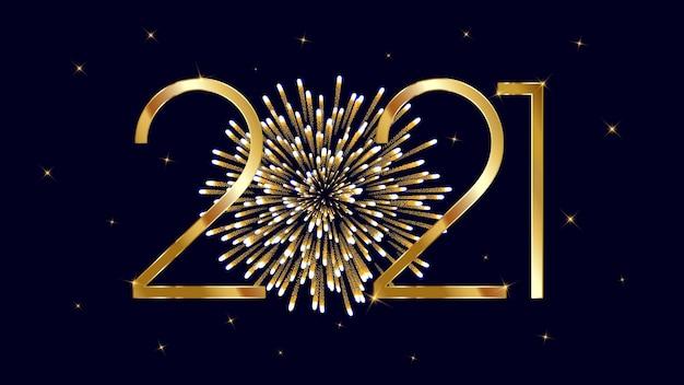 Prettige kerstdagen en gelukkig nieuwjaar op donkere achtergrond met gouden vuurwerk.