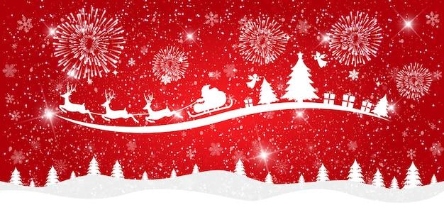 Prettige kerstdagen en gelukkig nieuwjaar op rode achtergrond met besneeuwde landschap en de kerstman