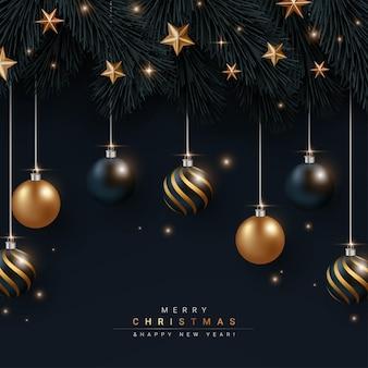 Prettige kerstdagen en gelukkig nieuwjaar op zwarte banner met hangend balelement