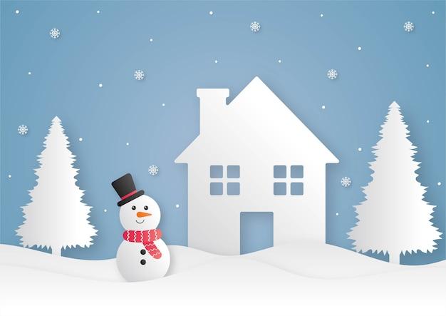 Prettige kerstdagen en gelukkig nieuwjaar papier gesneden kaart met sneeuwpop op blauwe achtergrond