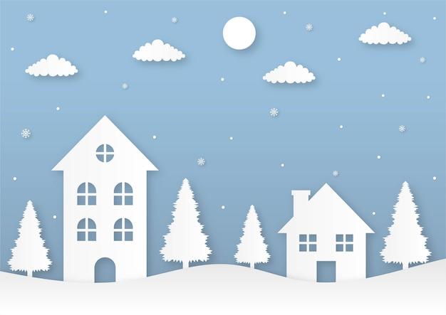 Prettige kerstdagen en gelukkig nieuwjaar papier gesneden kaart op blauwe achtergrond