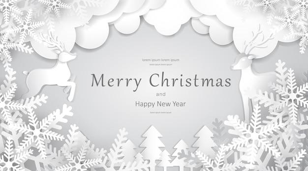 Prettige kerstdagen en gelukkig nieuwjaar, papier kunst, reclame met winter samenstelling in papier gesneden stijl