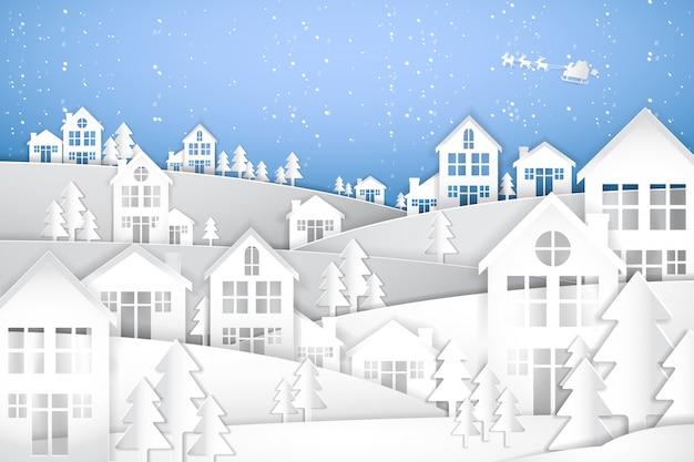Prettige kerstdagen en gelukkig nieuwjaar, papieren kunst