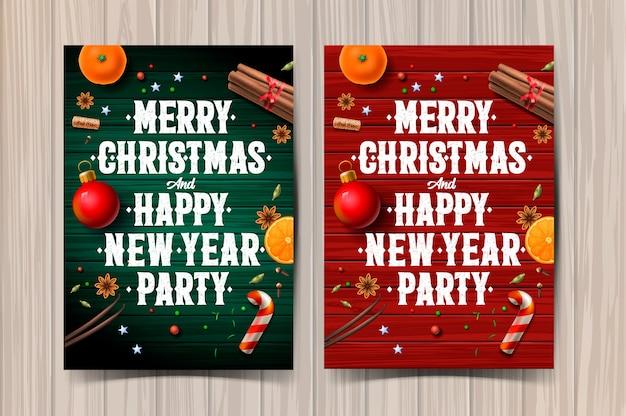 Prettige kerstdagen en gelukkig nieuwjaar partij ontwerpsjabloon, poster met typografie en kruiden
