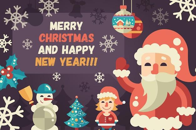 Prettige kerstdagen en gelukkig nieuwjaar platte ontwerp moderne illustratie