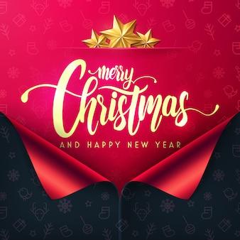 Prettige kerstdagen en gelukkig nieuwjaar poster en sjabloon