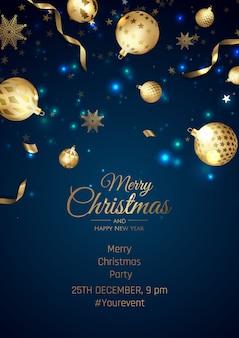 Prettige kerstdagen en gelukkig nieuwjaar poster met sneeuwvlokken en ballen