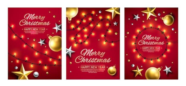 Prettige kerstdagen en gelukkig nieuwjaar poster set