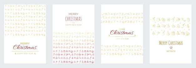 Prettige kerstdagen en gelukkig nieuwjaar posters of wenskaarten ontwerpen met hand getrokken doodles elementen, briefkaart collectie vectorillustratie. xmas banners met goud en rood verloop.